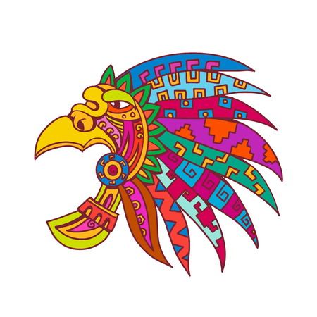 Drawing sketch style illustration of an ancient Aztec feathered headdress, a flamboyant and colourful costume piece worn by Aztec nobility, elite and priests viewed from side on isolated white backgro