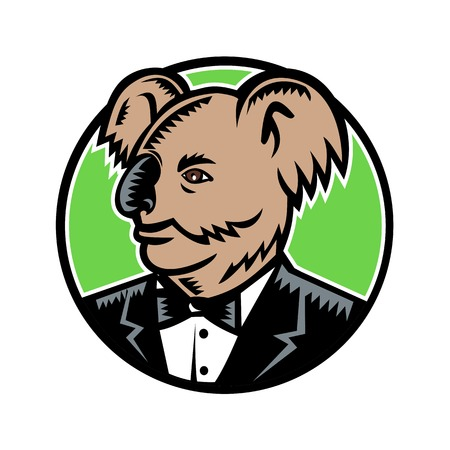 Retro woodcut style illustration of a koala bear, an arboreal herbivorous marsupial native to Australia, wearing a tuxedo black tie looking to side set inside circle done in full color. Illustration