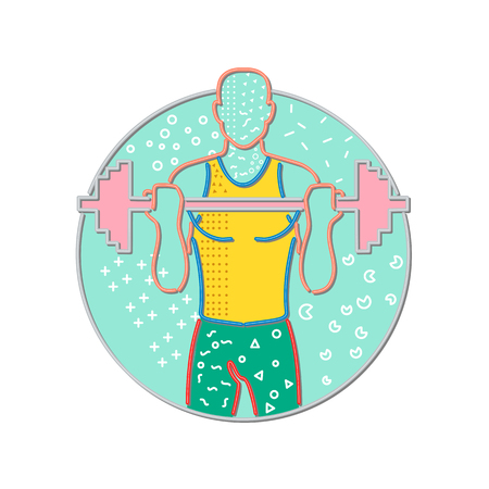 1980s Memphis style design illustration of an athlete or weightlifter lifting a barbell viewed from front set inside circle on isolated background.