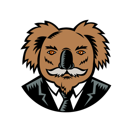 Retro woodcut style illustration of a koala, an arboreal herbivorous marsupial native to Australia, with moustache wearing a business suit coat and tie viewed from front done in full color. Çizim