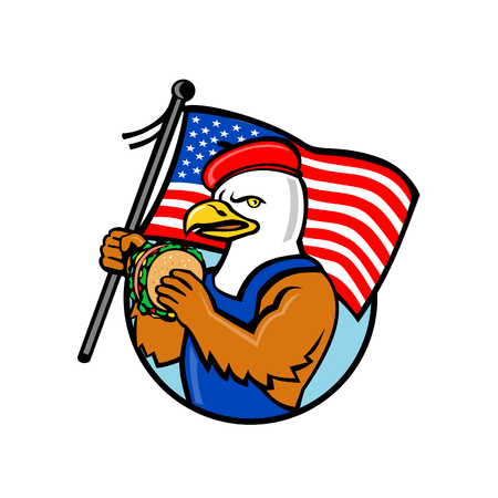 Cartoon style illustration of an American bald eagle holding a USA stars and stripes flag and hamburger or burger sandwich set inside circle on isolated background. Illustration