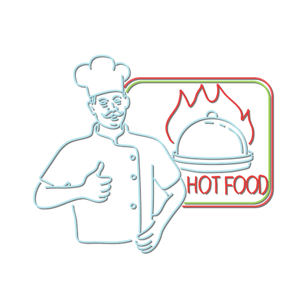 Retro style illustration showing a 1990s neon sign light signage lighting of a chef, cook or baker with thumbs up beside dish on flames or fire with sign Hot Food on isolated background.