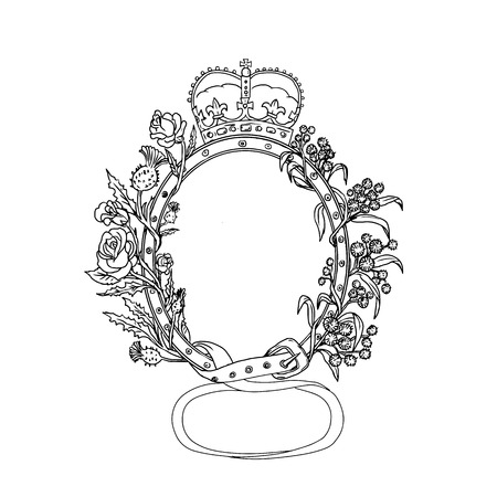 Drawing sketch style illustration of Scottish or Celtic cross buckle belt, a classic leather belt with an English rose and thistle intertwined and a royal crown on top set on isolated background done in black and white.