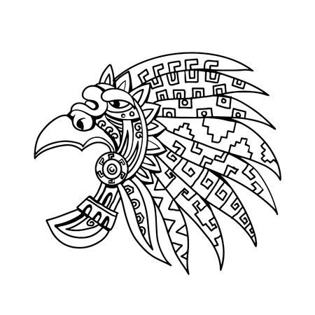 Drawing sketch style illustration of an Aztec feathered headdress, a flamboyant and colourful costume piece worn by Aztec nobility, elite and priests viewed from side on isolated white background in black and white.