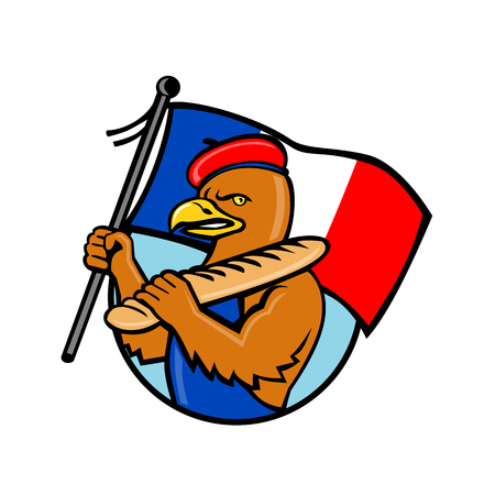 Cartoon style illustration of a French eagle holding a flag of France and baguette bread set inside circle of isolated background. Illustration