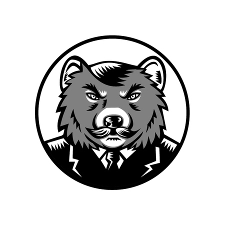 Retro woodcut style illustration of an angry Tasmanian devil with moustache wearing business suit coat and tie set inside circle viewed from front on isolated background done in grayscale.