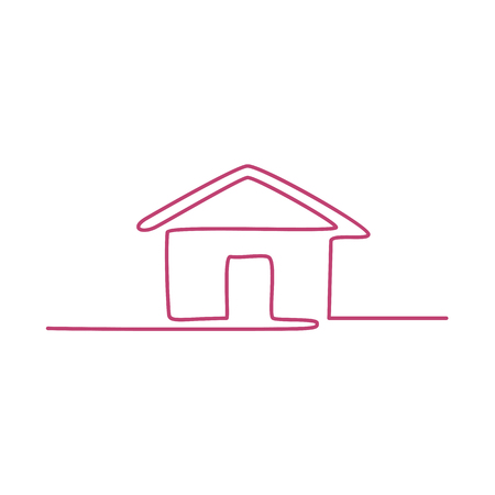 Continuous line illustration of  a house done in monoline style on isolated background. Stock Illustratie