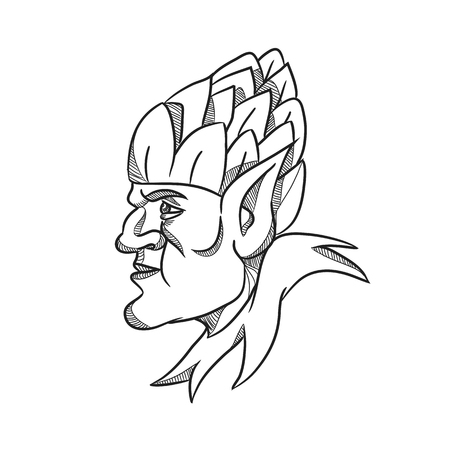 Drawing sketch style illustration of an elf, a human-shaped supernatural being in Germanic mythology folklore looking to side wearing hops hat on head on isolated white background in black and white.