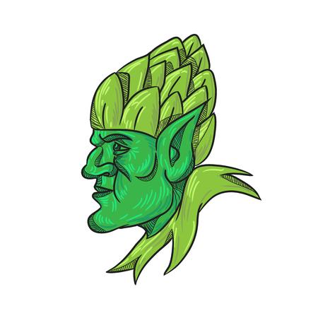 Zeichnungsskizzenartillustration eines grünen Elfs, eines menschenförmigen übernatürlichen Wesens in der germanischen Mythologie und Folklore, das zur Seite schaut und einen Hopfenhut auf dem Kopf auf isoliertem weißem Hintergrund trägt.