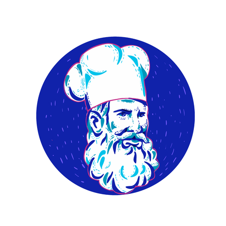 Doodle art illustration of an angry bearded chef, cook or baker looking to side set inside circle done in retro style.