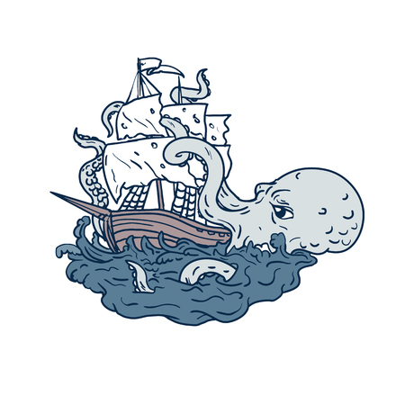 Doodle art illustration of a kraken, a legendary cephalopod-like giant sea monster attacking a sailing ship with its tentacles on sea with tumultuous waves done in sketch drawing style. Ilustração
