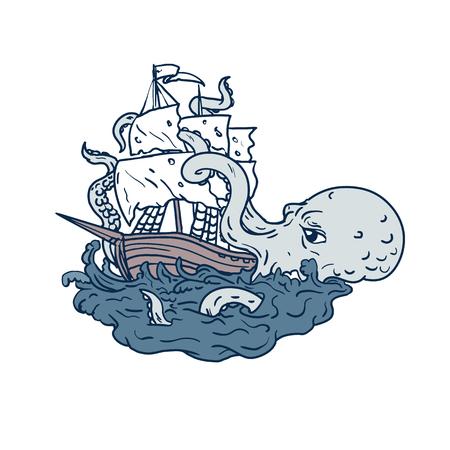 Illustration d'art doodle d'un kraken, un légendaire monstre marin géant ressemblant à un céphalopode attaquant un voilier avec ses tentacules sur la mer avec des vagues tumultueuses faites dans un style de dessin d'esquisse.
