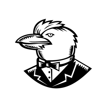 Retro woodcut style illustration of head of Kookaburra, a terrestrial tree kingfisher of genus Dacelo, native to Australia and New Guinea, wearing tuxedo coat and bow tie side on isolated background. Illustration