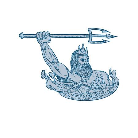 Ilustración de estilo de boceto de dibujo de Tritón, un dios griego, el mensajero del mar, hijo de Poseidón y Amphitrite, empuñando un tridente en el mar con olas sobre fondo blanco aislado en color.