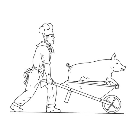 Drawing sketch style illustration of a chef, cook, baker or butcher with wheelbarrow carrying a pig viewed from side on isolated white background in black and white.