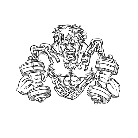 Cartoon style illustration of a buffed or ripped athlete with goatie and dumbbells breaking free from chains and shackle viewed from front done in black and white.