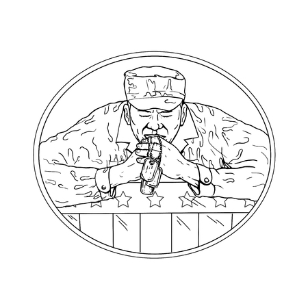 Drawing sketch style illustration of an African American soldier or veteran holding dog tag praying over USA stars and stripes flag set inside oval on isolated white background done in black and white.