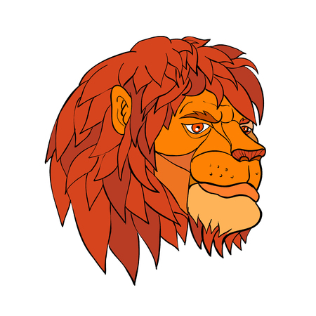 Cartoon style illustration of a head of a lion with full mane ruminating in pensive mood viewed from side on isolated background in color.