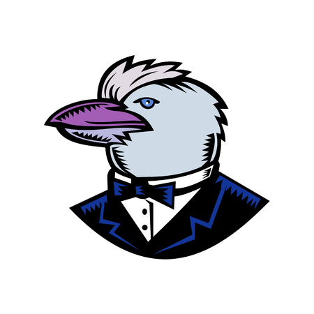 Retro woodcut style illustration of head of Kookaburra, a terrestrial tree kingfisher of genus Dacelo, native to Australia wearing tuxedo coat and bow tie side on isolated background in full color.