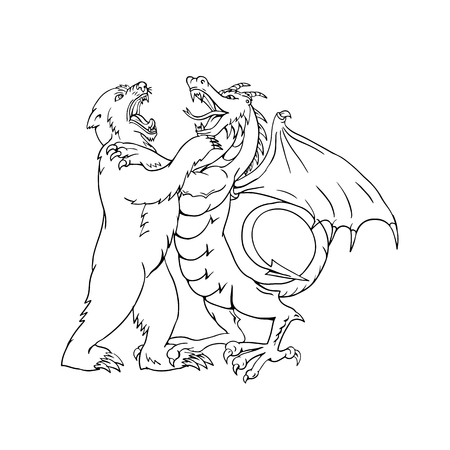 Drawing sketch style illustration of a bear wrestling, jousting, sparring or fighting a Chinese dragon on isolated white background done in black and white.