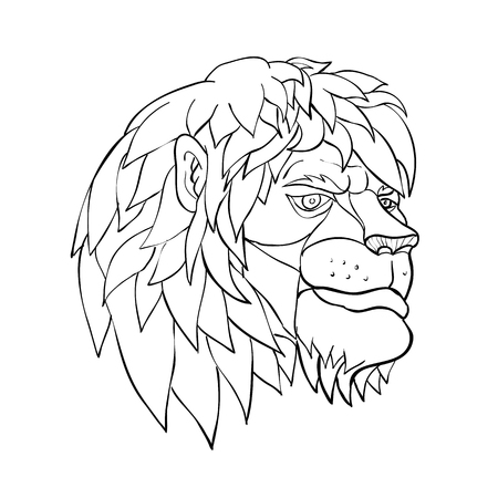 Cartoon style illustration of a head of a lion with full mane in pensive mood viewed from side on isolated background in black and white. Illustration