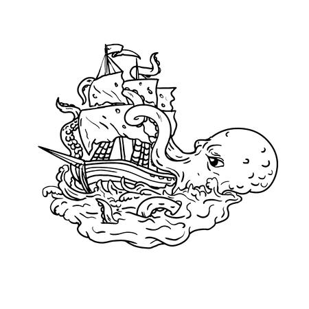 Doodle arte illustrazione di un kraken, un leggendario mostro marino gigante simile a un cefalopode che attacca una nave a vela con i suoi tentacoli sul mare con onde tumultuose fatte in stile di disegno in bianco e nero. Vettoriali