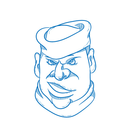 Cartoon style illustration of an angry sailor, sailorman, seaman, mariner, or seafarer wearing a sailor cap viewed from front on isolated background.