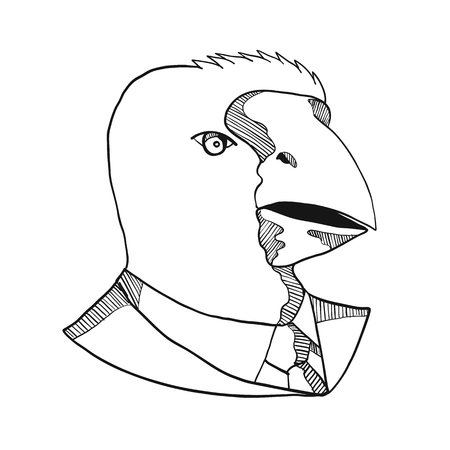 Drawing sketch style illustration of head of a takahe, the South Island takahe or notornis, a flightless bird indigenous to New Zealand, wearing a business suit coat and tie in black and white.