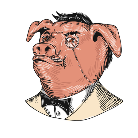 Drawing sketch style illustration of a noble aristocrat pig wearing a monocle and business suit with tie or tuxedo looking up on isolated white background.