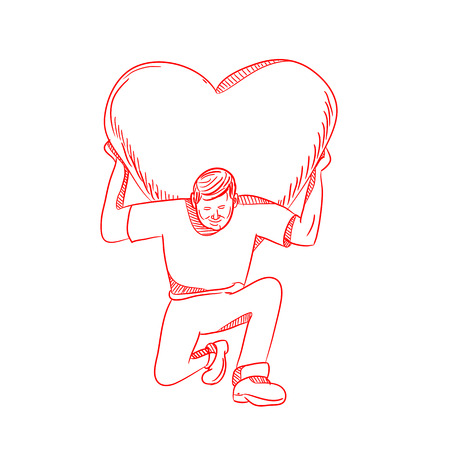 Drawing sketch style illustration of a modern Atlas lifting or carrying a giant heart on his back or shoulder while kneeling viewed from front on isolated white background. Stockfoto - 116517988
