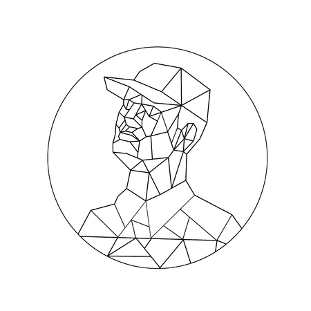 Low polygon style illustration of a union worker or tradesman wearing a baseball cap looking up set inside circle or oval done in black and white on isolated background.