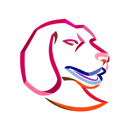 Curly Ribbon style illustration of head of a beagle, a breed of small hound similar in appearance to foxhound that is a scent hound for hunting done in twisted free flowing line art on isolated background. Иллюстрация