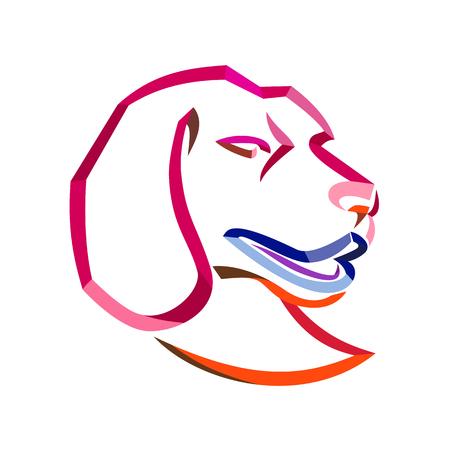 Illustration de style ruban bouclé de la tête d'un beagle, une race de petit chien d'apparence similaire au foxhound qui est un chien de chasse pour la chasse fait dans un dessin au trait tordu et fluide sur fond isolé. Vecteurs