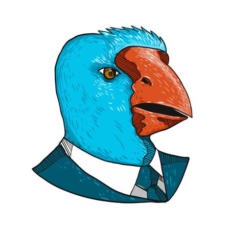 Illustrazione di stile di schizzo di disegno della testa di un takahe, il takahe dell'Isola del Sud o notornis, un uccello incapace di volare indigeno della Nuova Zelanda, che indossa un tailleur e cravatta su sfondo bianco isolato.