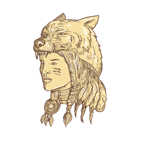Drawing sketch style illustration of a native American woman wearing a wolf headdress, headgear or headwear viewed from side in sepia and on isolated white background.