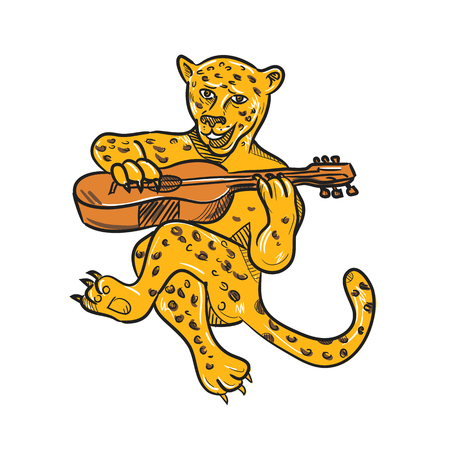 Cartoon style illustration of a happy jaguar or leopard playing an acoustic guitar while being seated or sitting down done in full color on isolated background.