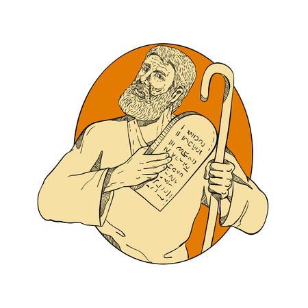 Drawing sketch style illustration of Moses, a prophet in the Abrahamic religions. leader of Israelites and lawgiver, with Ten Commandments set inside oval on isolated white background in color.