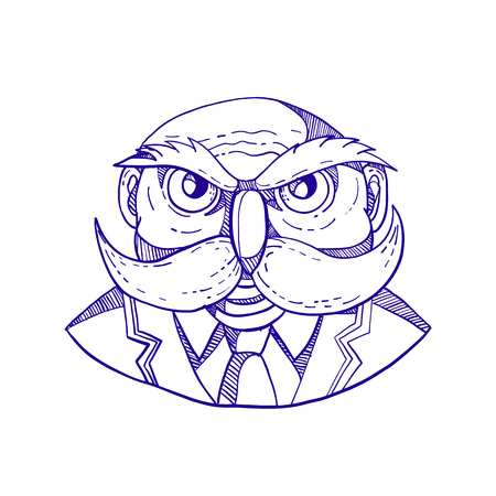 Doodle art illustration of an angry old bald man that looks like an owl with mustache wearing coat and tie viewed from front done in caricature style.