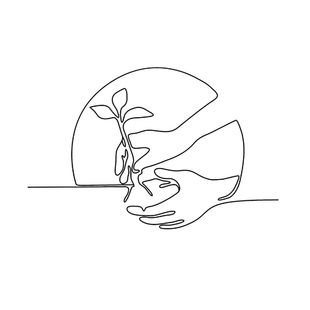 Continuous line illustration of a hand planting a tree seedling set inside circle shape done in monoline style in black and white.