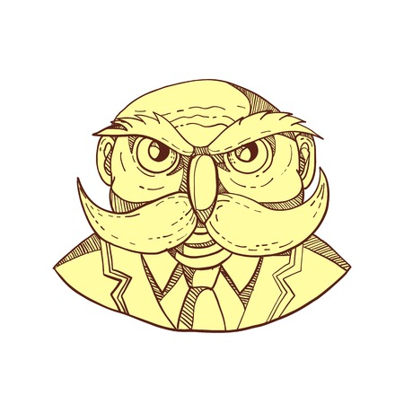 Doodle art illustration of an angry old bald man that looks like an owl with mustache wearing coat and tie viewed from front done in color caricature style.
