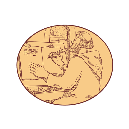 Drawing sketch style illustration of a monastic scribe or medieval monk writing illuminated manuscript inside European monastery or scriptorium set inside oval on isolated white background in color.