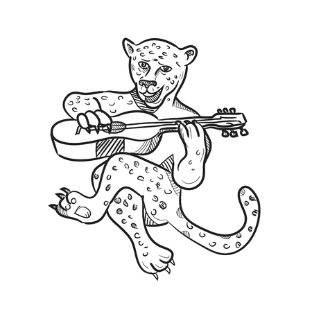 Cartoon style illustration of a happy leopard playing an acoustic guitar while sitting down done in black and white on isolated white background. Illustration