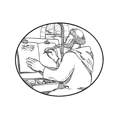 Illustrazione di stile di schizzo di disegno di un monaco monastico medievale che scrive manoscritto illuminato all'interno del monastero europeo o dello scriptorium impostato all'interno dell'ovale su sfondo bianco isolato in bianco e nero.
