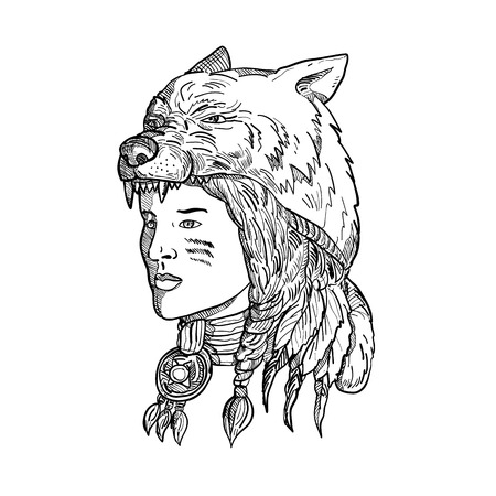 Drawing sketch style illustration of a native American woman wearing a wolf headdress, headgear or headwear looking to side in black and white on isolated background.