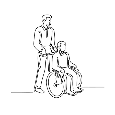 Continuous line illustration of a hospital patient or disable person with handicap sitting or being push on wheelcahir by a male nurse done in monoline style. 일러스트