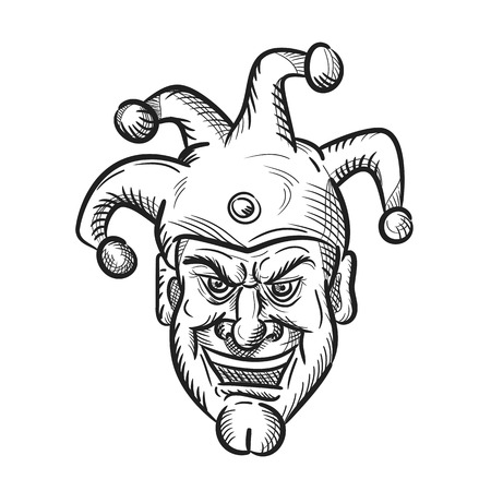 Drawing sketch style illustration of head of a crazy medieval court jester, harlequin or fool with a sarcastic silly grin or smile on isolated white background in black and white. Ilustração