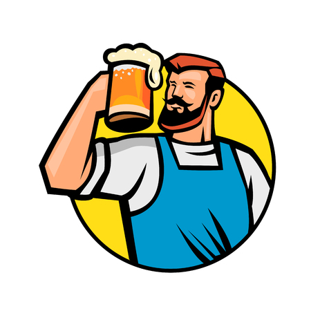 Mascot icon illustration of bust of a bearded hipster toasting a mug of beer or ale set inside circle viewed from front on isolated background in retro style.