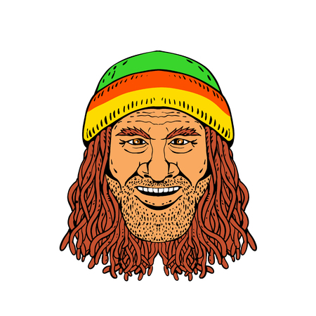 Drawing sketch style illustration of head of a Rastafarian, Rastafari or guy practising Rastafarianism, wearing a beanie and dreadlocks on white background in full color.