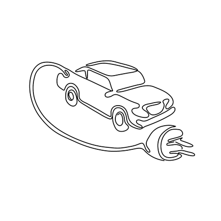 Continuous line drawing illustration of an electric vehicle, car or automobile with charging cable and plug coming out done in sketch or doodle style in black and white. Illustration