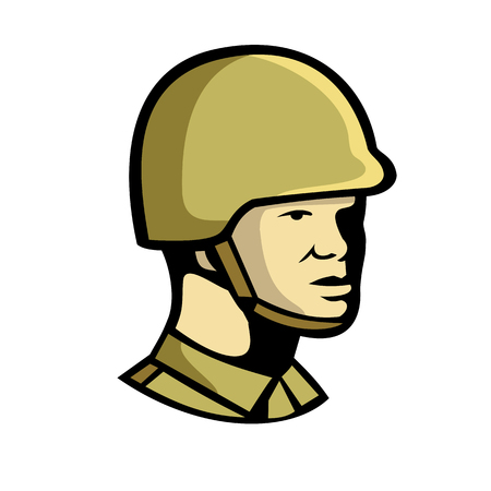 Icon retro style illustration of a Chinese communist soldier or military officer personnel looking to side on isolated background.